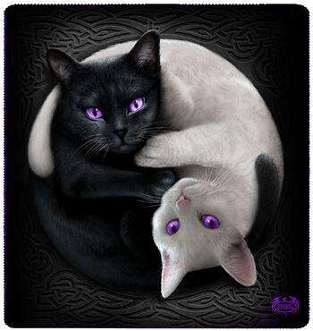 Yin Yang Cats fleecedeken