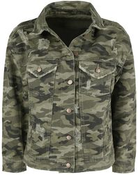 Camouflage Denim Jacke with Distressed Effects
