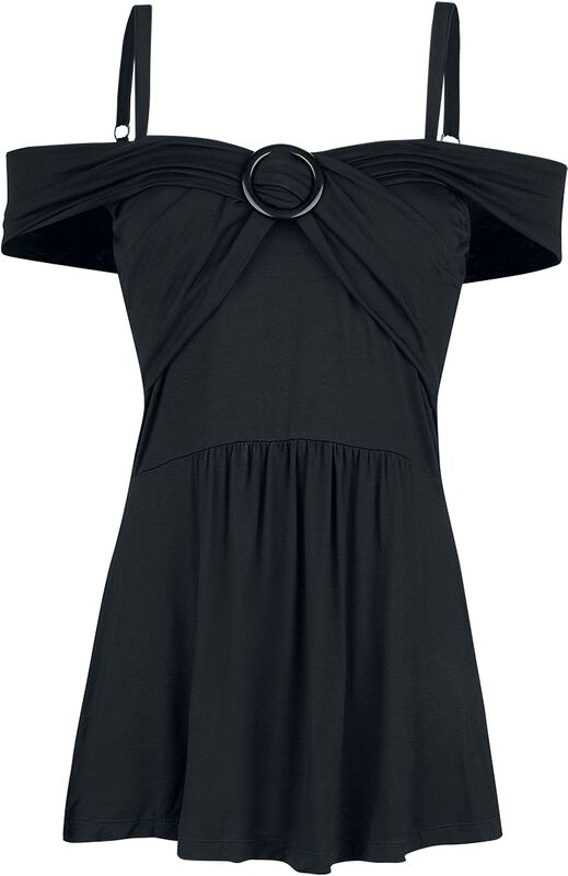 Black Top with Thin Straps and Wrap Look