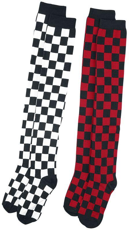 2er Pack Checkerboard Overknees