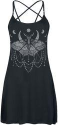 Short Black Dress with Print and Pentagram Straps