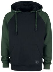 Black/Green Hooded Jumper with Raglan Sleeves