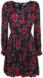 Black/Red Dress with Floral All-Over Print