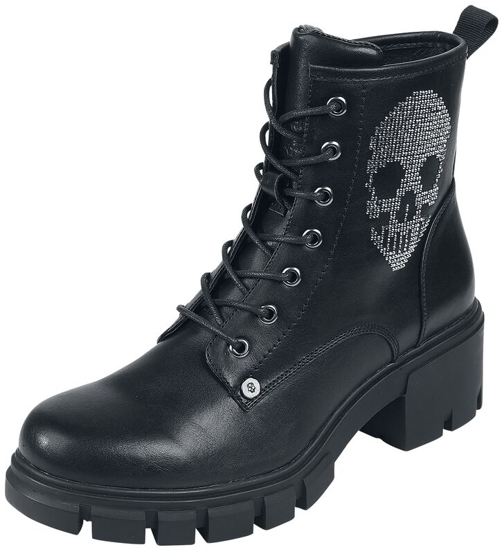 Black Lace-Up Boots with Rhinestone Skull